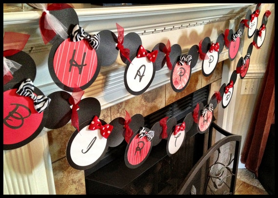 Custom Minnie Mouse Birthday Banner & Highchair banner RESERVED for Audrey