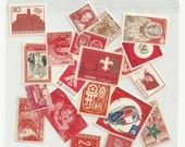 Red unused postage stamps - set of 20 pieces