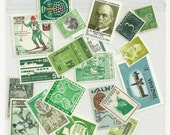 Green unused postage stamps - set of 20 pieces