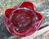 Vintage red and clear layered glass control bubble blown dish/bowl/ashtray