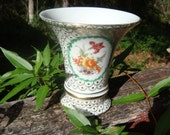 Erphila-made in Germany vase with flower design and gold leaf