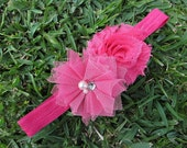 Hot Pink Bright Headband Shabby Chic Chiffon Rosette and Folded Mesh Flower with Pearl and Rhinestone BLING Center Photography Prop Summer