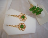 Birthstone Gold plated, High Fashion Emerald Green Chainmaille Flower Earring & Ring Set