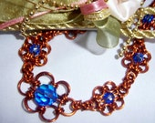 Crystal Blue Chainmaille Flower Copper Necklace Set