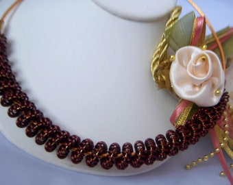 Copper In Rope Brown Wire Coiled Choker Necklace Set