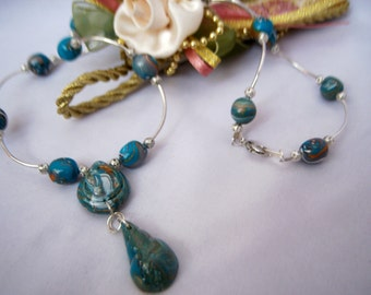 Blue Polymer Clay Beaded Necklace Set