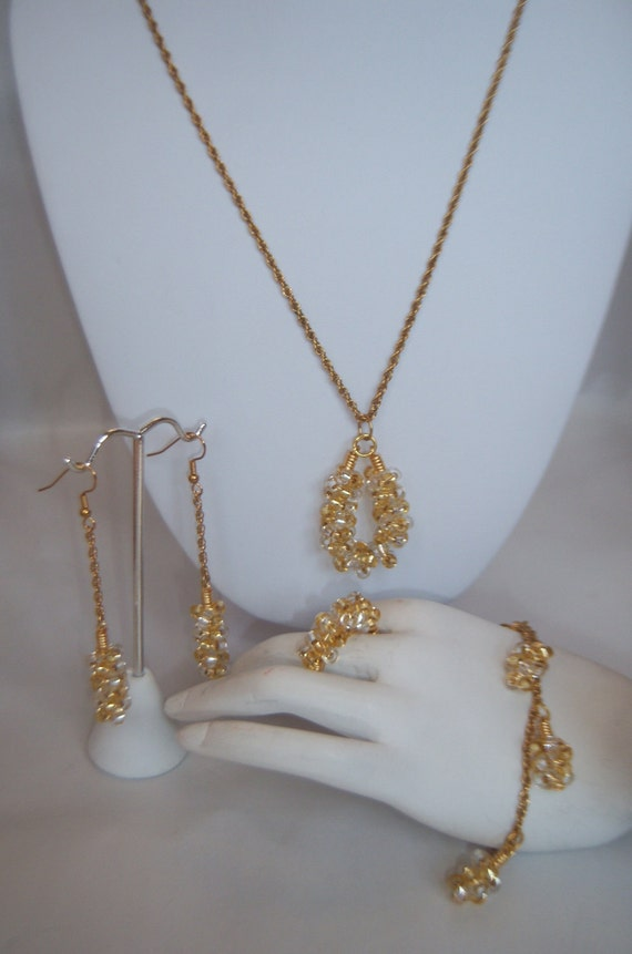 Beaded Coil Chain Pendant Necklace Set