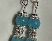 Brazilian aquamarine bright silver dangle earrings