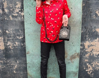 Vintage Red Call Me Quick Top with Vibrant Flowers
