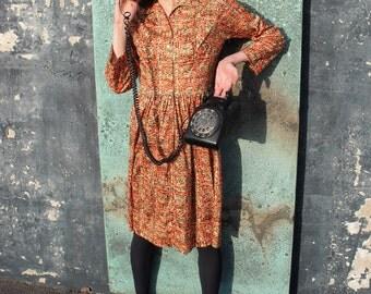 Peak Foliage Orange Vintage Dress