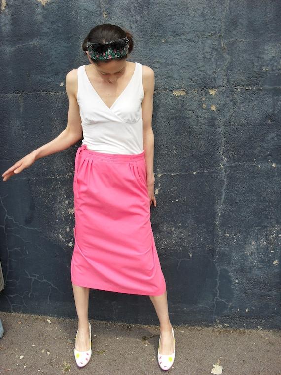 Hot Pink Vintage Wrap Skirt