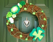 St. Patrick's Day Wreath with Shamrock