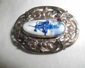 Vintage  Delft Brooch for Mothers Day