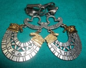 Egyptian Earrings  Silver with gold end pieces  Mothers Day, Thanksgiving, Black Friday, Cyber Monday, Christmas