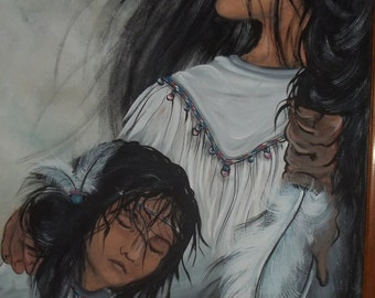 CYBER MONDAY  Oil on Canvas Native American Woman with her child Eagle flying over