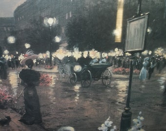 Print of a 1920s Street Scene in Paris at Dusk  Thanksgiving, Black Friday, Cyber Monday, Christmas