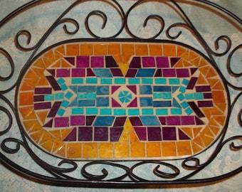 Great Metal and Mosaic Tile Bread Basket  NATIVE AMERICAN design  Christmas