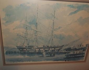 "Watercolor Lithograph The Charles W. Morgan Ship 23"" X 28""  Thanksgiving, Black Friday, Cyber Monday, Christmas"