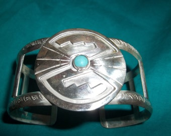 Turquoise and Silver Native American Cuff Bracelet  Fathers Day  Thanksgiving, Black Friday, Cyber Monday, Christmas