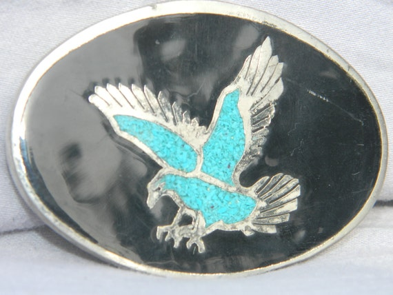 Crushed Turquoise Eagle Belt Buckle with Black Enamel  Fathers Day