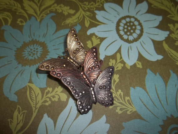 Vintage 1970s Silver Copper and Brass Butterfly Brooch