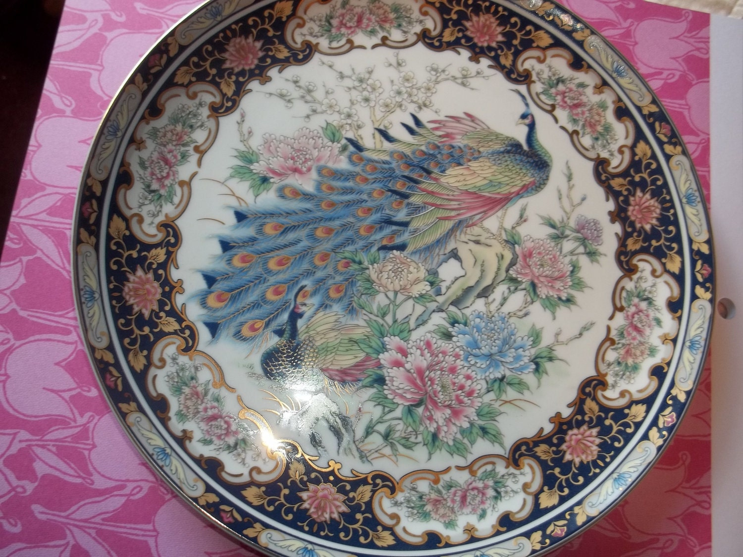 Japanese Toyo Decorative Plate Peacock Design By