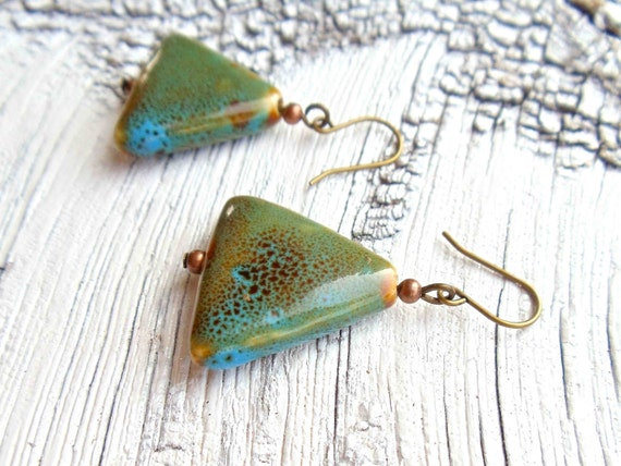 RESERVED FOR CHERYL // brass triangle earrings // porcelain bead jewelry