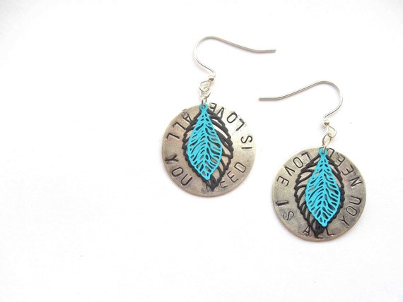 beatles all you need is love silver stamped hook earrings with black and turquoise leaves