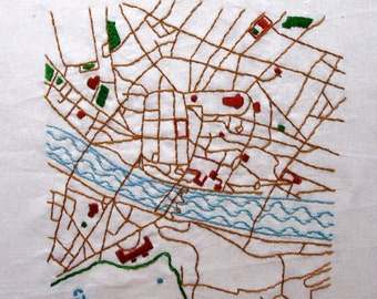 Florence, Italy Embroidered Map