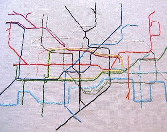 Large London Tube Embroidered Map, 8x10