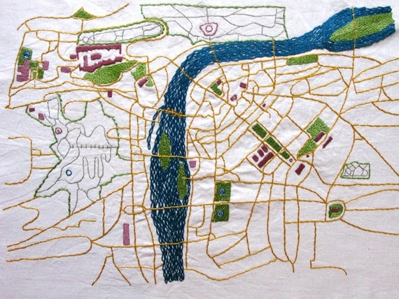 Prague Embroidered Map, Large