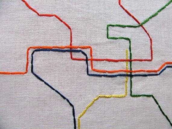 Embroidered Metro Map, Washington, DC