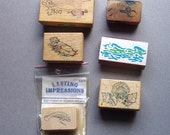 vintage rubber stamp lot vintage 1980s used Ocean Theme Sea Otter Seashells Scuba Diver Dolphins Water Manatee
