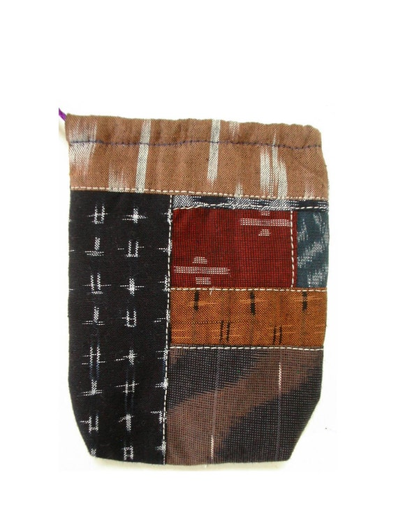 japanese cotton patchwork pouch