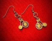 "Cute Vintage-style ""on your bike"" brass penny farthing earrings"