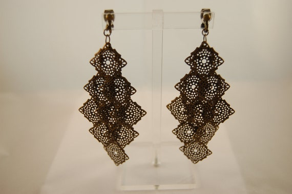 LAYERS - Layered Boho Vintage Antique Bronze Chandelier Long Dangle Metal Filigree Style Clip On Earrings
