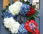 Red White and Blue Hydrangea Wreath