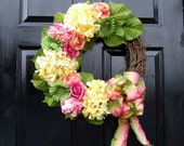 Yellow Pink and Green Spring/Summer Wreath