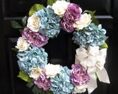 Lavender, White and Teal Wreath