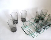 Mid-Century Drinking Glass Caddy.  8 Tumblers. Turquoise Blue  with Black Trim. Set of 8 Highball Glasses Retro