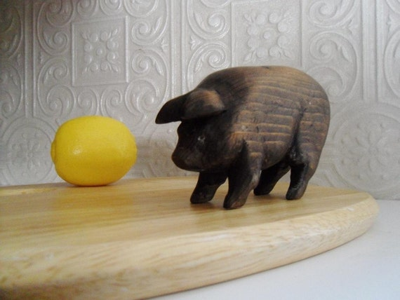 Wooden Pig. Folk Art Carving. Quiet and Well-Mannered.