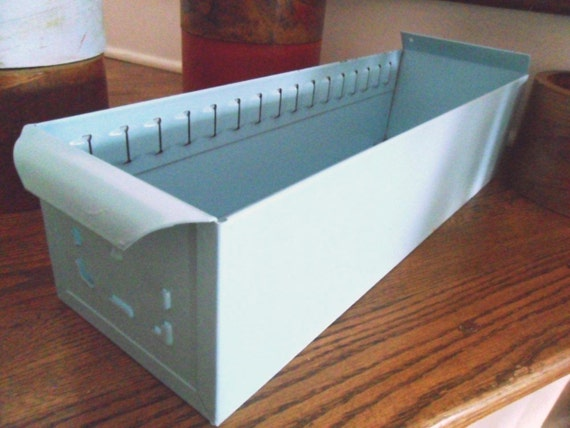 Large Blue Industrial Metal Drawer Storage Decor