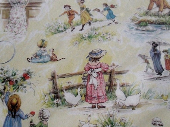 Wrapping Paper. Yellow Kate Greenway Illustrations  Vintage Gift Wrap 8 s.f. NIP