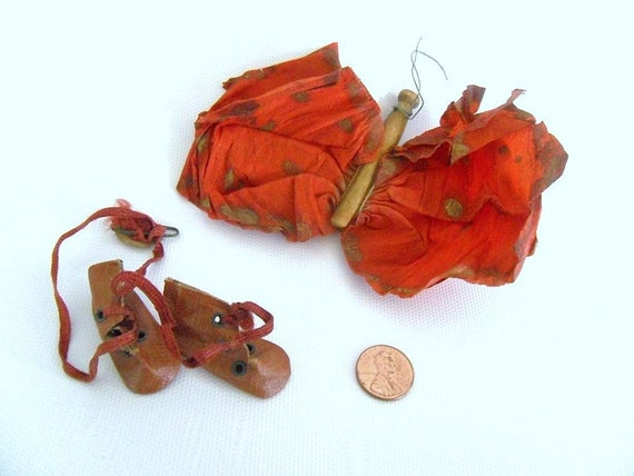 WB - Artist's Supply: Roots and Wings 1920s Toys. Tiny Leatherette Boots on Ribbon and Homemade Butterfly