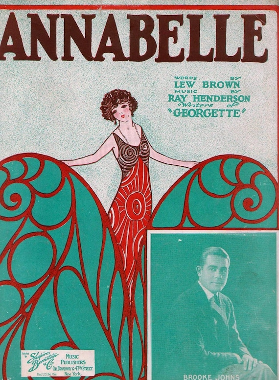 Art Deco 1924 Sheet Music Annabelle by Lew Brown and Ray Henderson