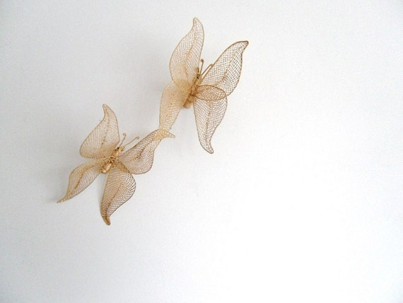 Woven Rattan Butterflies. Vintage Pair.