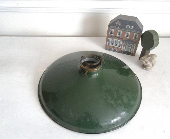 RESERVED Green Porcelain Enamel Industrial Light. Circa 1940s.