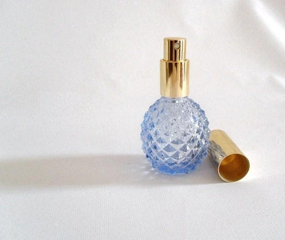 Vintage Blue Quilted Glass Perfume Bottle - Atomizer