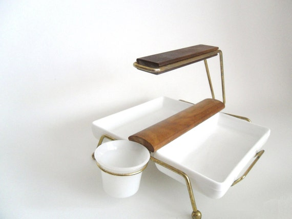 Retro Hors D'Oeuvres Server. Atomic Modern Styling.  1960's. 4 Pieces. Milk Glass. Fire King. Gold-toned Steel and Wood
