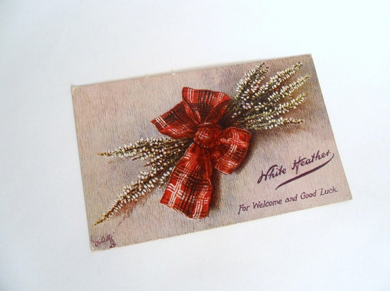A Sprig O' Heather  - Scottish Postcard - Welcome and Good Luck
